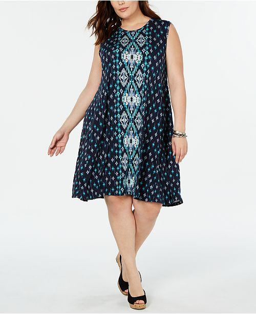 Style & Co Plus Size Printed Sleeveless Swing Dress, Created ...