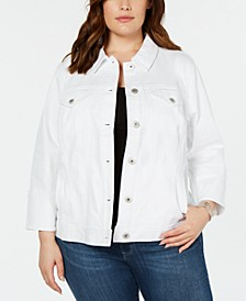 Plus Size Wide-Cuff Denim Jacket, Created for Macy's