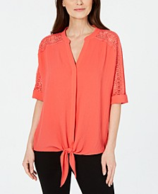 Petite Lace-Inset Tie-Front Top, Created For Macy's