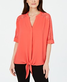 Alfani Petite Lace-Inset Tie-Front Top, Created For Macy's