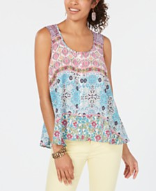 Style & Co Petite Printed Swing Tank Top, Created for Macy's