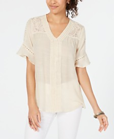 Style & Co Lace Bell-Sleeve Top, Created for Macy's