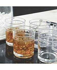 Global Views Set of 6 Double Old Fashion 2 Band Drinking Glasses