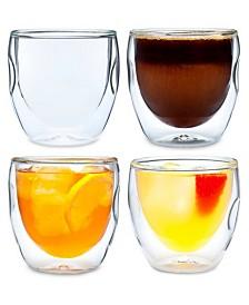 Moderna Artisan Series Double Wall 8 oz Beverage Glasses - Set of 4