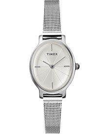 Timex Milano Oval 24mm Stainless Steel Silver Mesh Band Watch