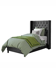 CorLiving Fairfield Tufted Fabric Bed with Wings, Twin