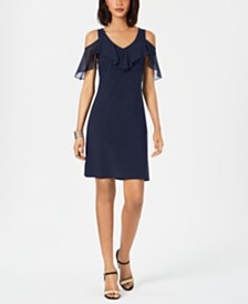 MSK Petite Cold-Shoulder Ruffled Dress