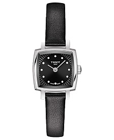 Tissot Women's Swiss T-Lady Lovely Diamond Accent Black Leather Strap Watch 20mm