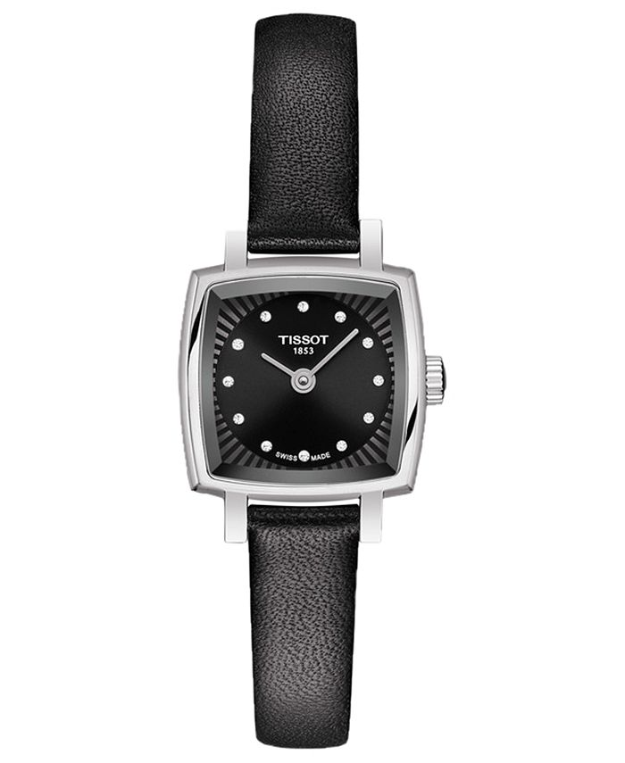 Tissot - Women's Swiss T-Lady Lovely Diamond Accent Black Leather Strap Watch 20mm