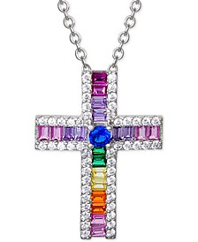"Cubic Zirconia Rainbow Baguette Cross 18"" Pendant Necklace in Sterling Silver, Created for Macy's"