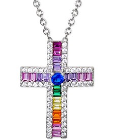 "Giani Bernini Cubic Zirconia Rainbow Baguette Cross 18"" Pendant Necklace in Sterling Silver, Created for Macy's"