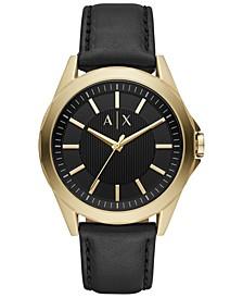 Men's Drexler Black Leather Strap Watch 44mm