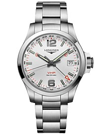 Men's Swiss Conquest V.H.P. Stainless Steel Bracelet Watch 41mm