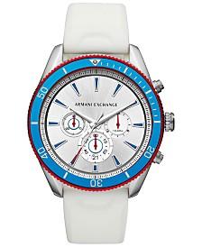 A|X Armani Exchange Men's Chronograph Enzo White Silicone Strap Watch 46mm