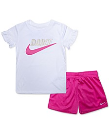 Little Girls 2-Pc. Dance Futura Logo T-Shirt & Mesh Shorts Set
