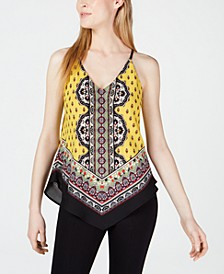 Juniors' Scarf-Print Top