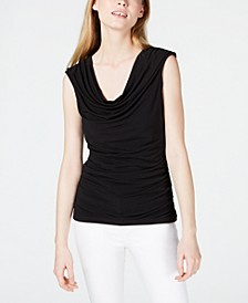 Juniors' Ruched-Side Lace-Up Back Top