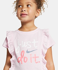 Nike Little Girls 2-Pc. Just Do It Ruffled Logo T-Shirt & Scooter Skirt
