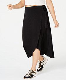 Monteau Trendy Plus Size High-Low Midi Skirt