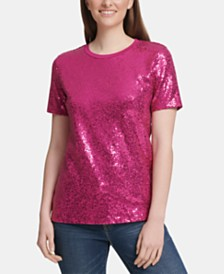 DKNY Sequinned Crewneck Top