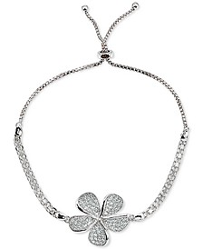 Cubic Zirconia Pavé Flower Bolo Bracelet in Sterling Silver, Created for Macy's