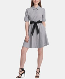DKNY Cotton Striped Belted Fit & Flare Dress