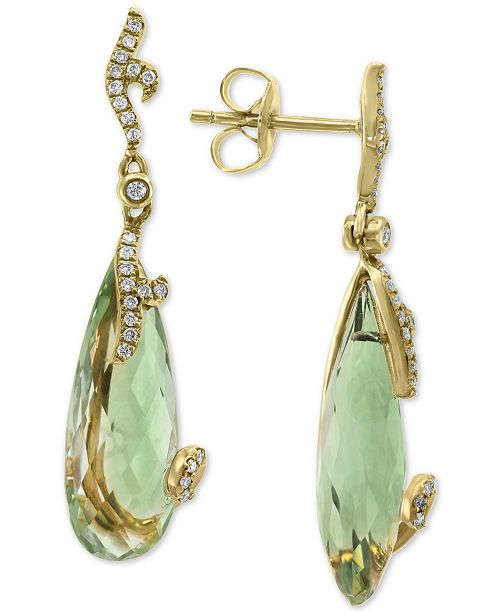 EFFY Collection EFFY® Green Quartz (9-3/8 ct. t. w.) & Diamond (1/5 ct. t.w.) Stud Earrings in 14k Gold
