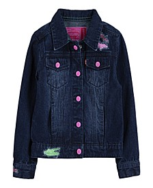 Little Girls x Crayola Color Distressed Trucker Jacket
