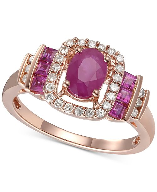 Macy's Ruby (1 ct. t.w.) and Diamond (1/5 ct. t.w.) Ring in 14k Gold (Also available in Sapphire and Emerald)