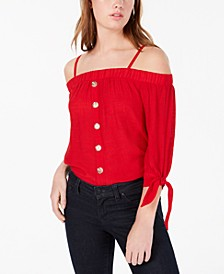 Juniors' Tie-Sleeve Off-The-Shoulder Top