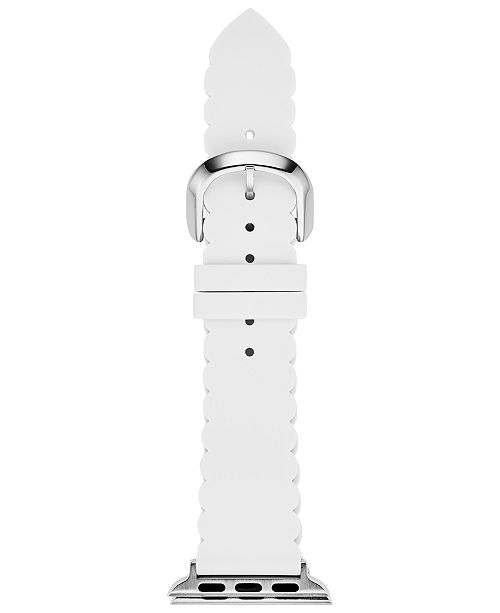 kate spade new york Women's White Scalloped Silicone Apple Watch Strap 38mm/40mm