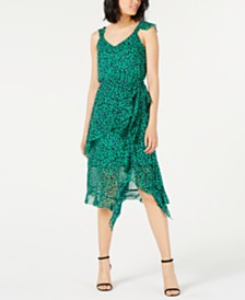 I.N.C. Animal-Print Ruffled Dress, Created for Macy's
