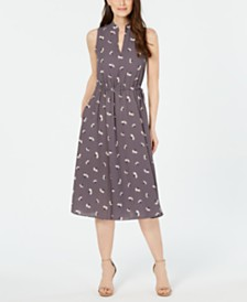 Anne Klein Sleeveless Printed Drawstring A-Line Dress