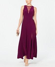 Illusion-Inset A-Line Gown