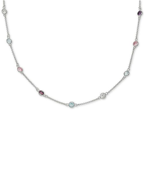 """Giani Bernini Cubic Zirconia Rainbow Bezel Collar Necklace in Sterling Silver, 16"""" + 2"""" extender, Created for Macy's"""