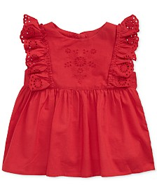 Polo Ralph Lauren Baby Girls Ruffled Cotton Top