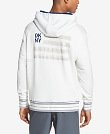 DKNY Men's Regular-Fit Stripe Logo Fleece Hoodie