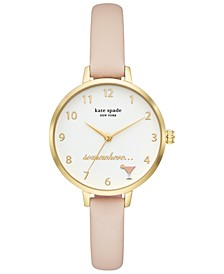 Women's Metro Blush Leather Strap Watch 34mm