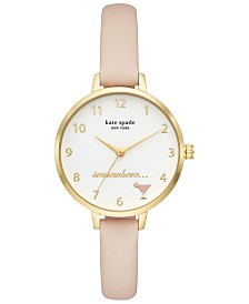 kate spade new york Women's Metro Blush Leather Strap Watch 34mm