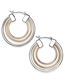 Alfani Tri-Tone Triple-Row Hoop Earrings, Created for Macy's