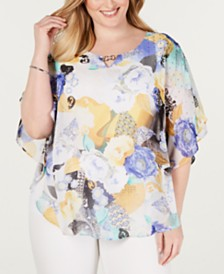 JM Collection Plus Size Printed Poncho Top, Created for Macys