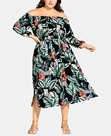 Trendy Plus Size Printed Off-The-Shoulder Dress