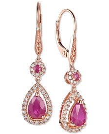 Certified Ruby (1-5/8 ct. t.w.) and Diamond (1/3 ct. t.w.) Teardrop Halo Drop Earrings in 14k Rose Gold (Also Available In Tanzanite)