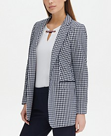Gingham-Print Open-Front Topper Jacket, Created for Macy's