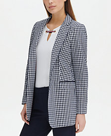 Tommy Hilfiger Gingham-Print Open-Front Topper Jacket, Created for Macy's