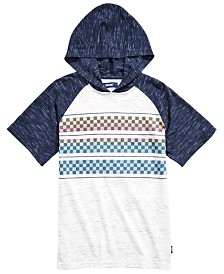 Univibe Big Boys Follow Colorblocked Checker-Stripe Hooded Raglan-Sleeve T-Shirt