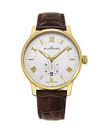 Alexander Watch A102-07, Stainless Steel Yellow Gold Tone Case on Brown Embossed Genuine Leather Strap