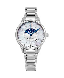 Alexander Watch AD204B-01, Ladies Quartz Moonphase Date Watch with Stainless Steel Case on Stainless Steel Bracelet