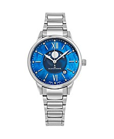 Alexander Watch AD204B-02, Ladies Quartz Moonphase Date Watch with Stainless Steel Case on Stainless Steel Bracelet