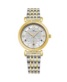 Alexander Watch AD202B-02, Ladies Quartz Small-Second Date Watch with Yellow Gold Tone Stainless Steel Case with Stainless Steel and Yellow Gold Tone Stainless Steel Bracelet